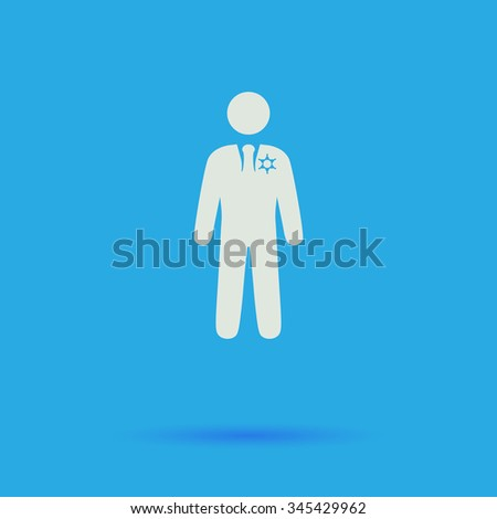 ranger White flat vector simple icon on blue background with shadow  - stock vector