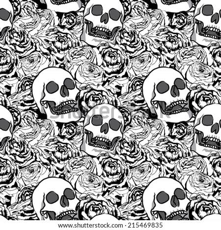 ranunculus rose flower skull vector gothic stock vector