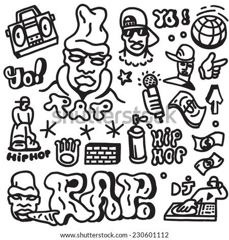 rap , hip hop  - doodles set - stock vector