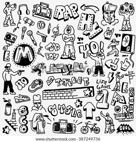 rap, hip hop , graffiti - doodles set - stock vector