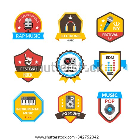 Rap hip-hop rock and other music styles label set isolated vector illustration - stock vector