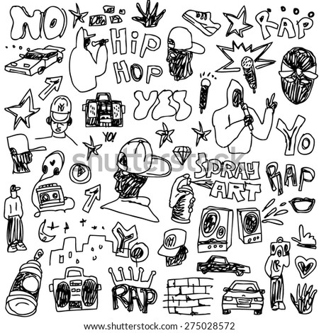 rap music , hip hop , graffiti - vector icons in sketch style - stock vector