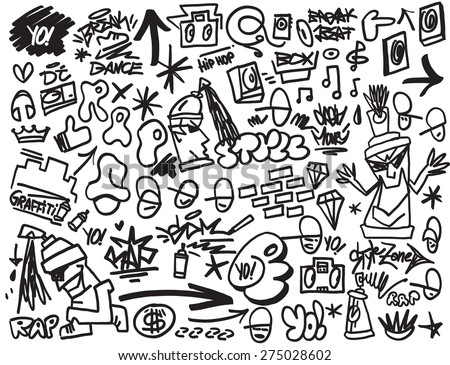 rap music , hip hop , graffiti - vector icons in sketch style