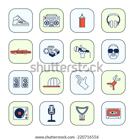 Rap music icons set with sneakers boombox headphones isolated vector illustration