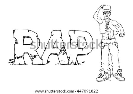Rap singer. Hand drawn vector stock illustration. Black and white whiteboard drawing. - stock vector