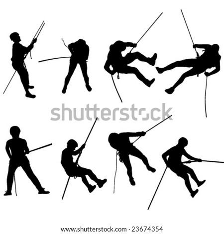 Rappelling silhouettes - stock vector