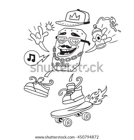 Rapper Modern Street Style Attributes Swag Vector Doodle Art Cartoon Character Face With Skateboard