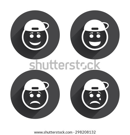 Rapper smile face icons. Happy, sad, cry signs. Happy smiley chat symbol. Sadness depression and crying signs. Circles buttons with long flat shadow. Vector - stock vector