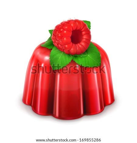 Raspberry jelly, detailed vector - stock vector