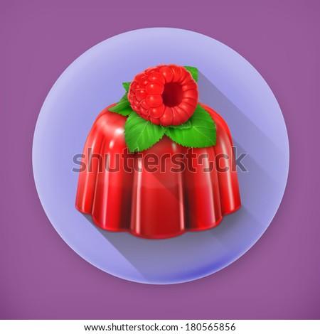 Raspberry jelly, long shadow vector icon - stock vector