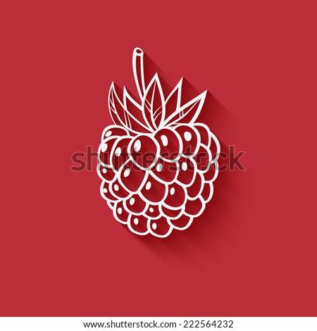 raspberry on red background - vector illustration. eps 10 - stock vector