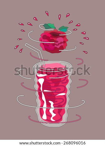 Raspberry smoothie. Raspberry juice. Design element for cafe or restaurant with energetic fresh drink. Fresh juice for healthy life. Organic raw shake. Hand drawn illustration. Rotating glass. - stock vector