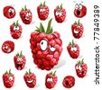 raspberry with many expressions - stock vector