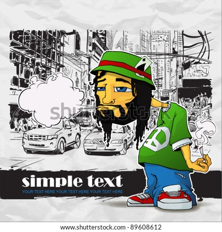 Rasta character on a city-background. Vector illustration. Place for your text. EPS10 - stock vector