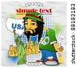 Rasta character on a usa-background. Vector illustration. Place for your text. EPS10 - stock