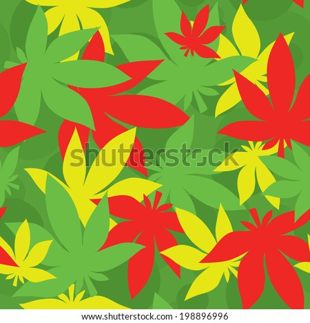 Rasta leaf vector seamless pattern - stock vector