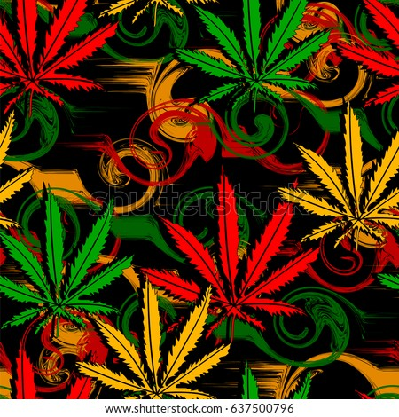 Rasta wallpaper  Abstract seamless pattern from marijuana cannabis on  Rastafarian background colors  Vector Illustration. Rasta Stock Images  Royalty Free Images   Vectors   Shutterstock
