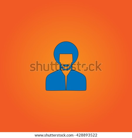 Rastafarian man. Blue flat icon with black stroke on orange background. Collection concept vector pictogram for infographic project and logo - stock vector