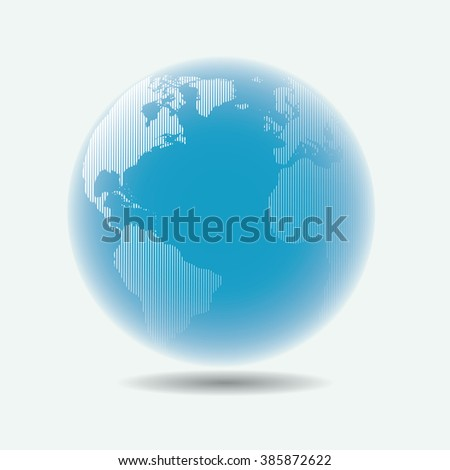Raster linear globe, with blur effect, vector illustration