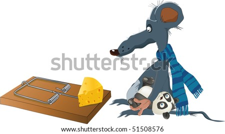 Rat and a mousetrap - stock vector