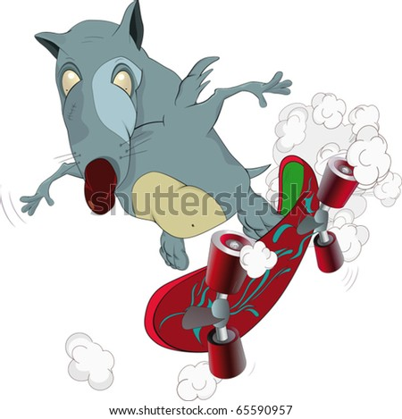 Rat and skate board - stock vector