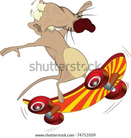 Rat and skate board .Cartoon - stock vector