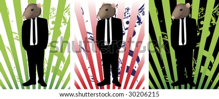 Rat face in suit representing corruption - stock vector