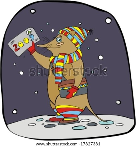 Rat the postman in a striped scarf and a hat with an envelope - stock vector