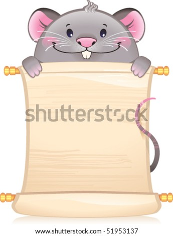 Rat with scroll -  symbol of Chinese horoscope - stock vector