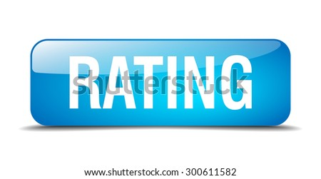 rating blue square 3d realistic isolated web button - stock vector