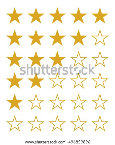 Rating gold stars set, isolated vector illustration.