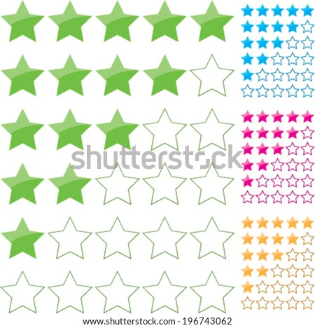 Rating stars isolated on white - stock vector