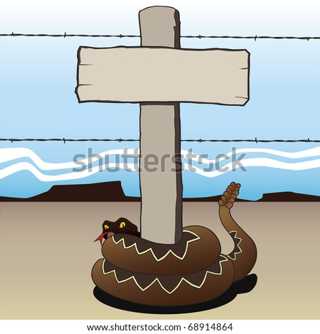Rattlesnake coiled around fence post with sign. - stock vector