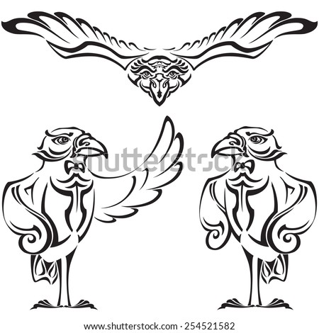 Raven - administrator. Set of vector silhouettes - stock vector