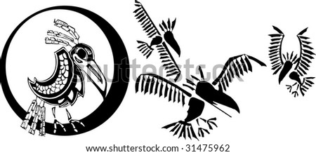 Raven and his clan rendered in Northwest Coast Native Style. - stock vector