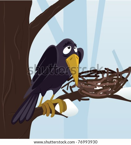 raven in winter forest - stock vector