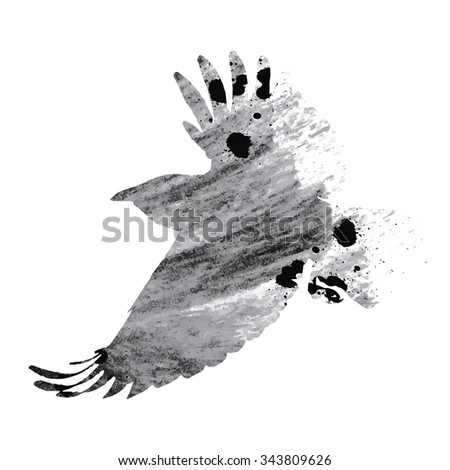 Raven on white background, vector illustration - stock vector