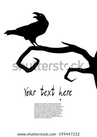 raven sits on a tree - stock vector