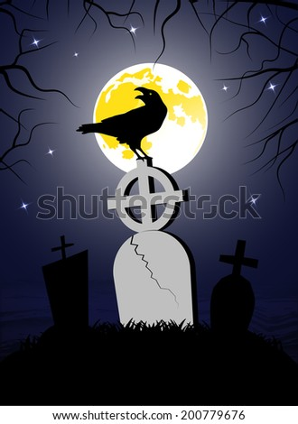 raven sitting on a cross - stock vector