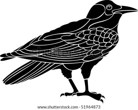 raven vector - stock vector