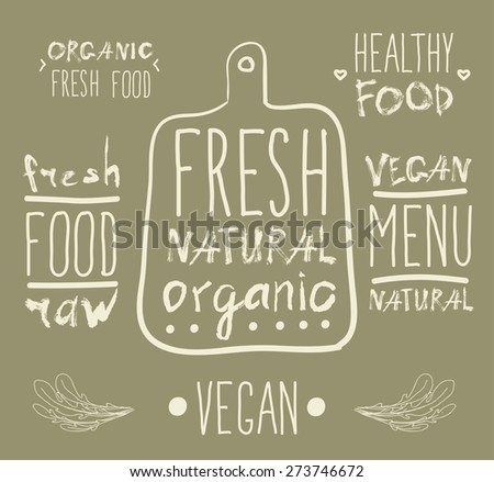Raw vegan badges. Vector hand drawn labels. calligraphy - stock vector