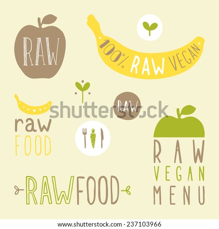 Raw vegan labels. Vector hand drawn signs. - stock vector