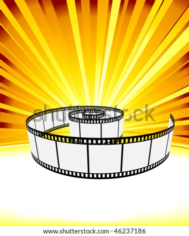 Ray background with film strip. Vector illustration