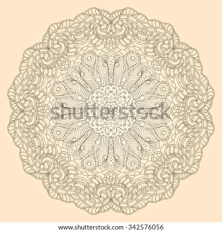 Ray edge mandala tracery wheel mehendi design. Tracery calming ornament. Neat even monochrome harmonious doodle texture. Indifferent discreet. Trace bracing usable doodling mehndi pattern. Vector. - stock vector