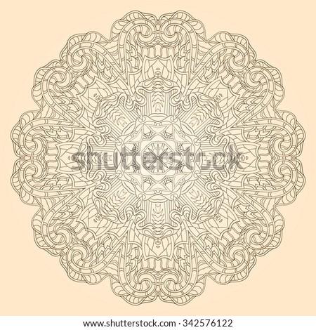 Ray edge mandala tracery wheel mehendi design. Tracery calming ornament. Neat even monochrome harmonious doodle texture. Indifferent discreet. Trace bracing usable doodling mehndi pattern. Vector. - stock vector