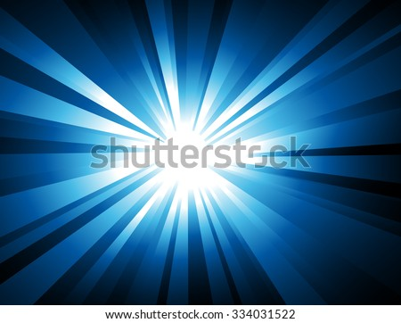 Ray Lights explosion background with blue colors - stock vector