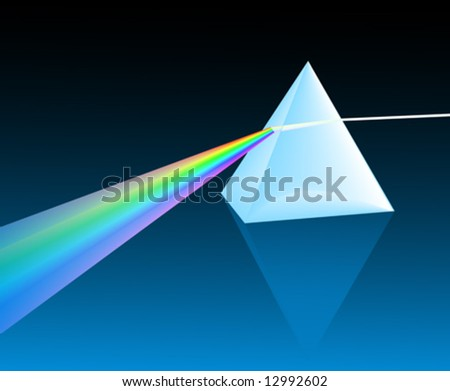 ray of light refracting through a pyramid - stock vector