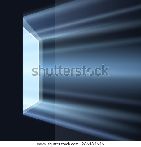 Ray of light through the window in dark room. - stock vector