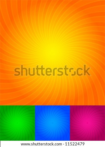 Rays of light, orange, green, blue, pink, background - stock vector