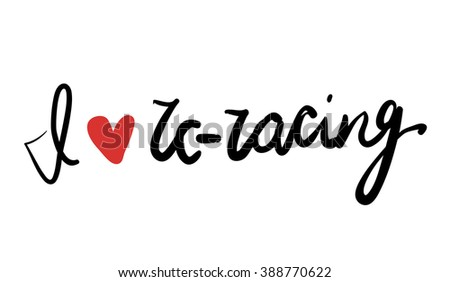 RC Racing love. Hand lettering phrase. - stock vector